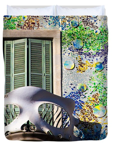 Gaudis Skull Balcony And Mosaic Walls Duvet Cover by Rene Triay Photography