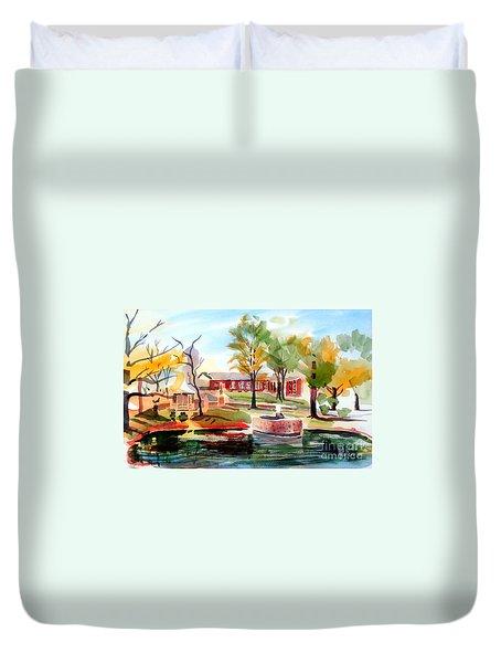 Gazebo Pond And Duck II Duvet Cover by Kip DeVore