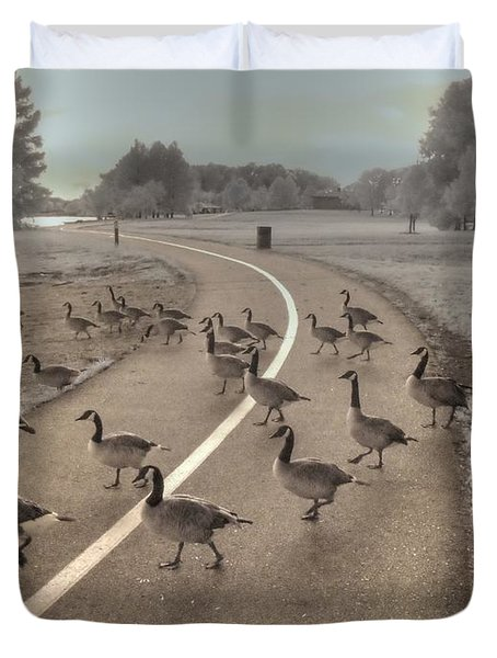 Geese Crossing Duvet Cover by Jane Linders