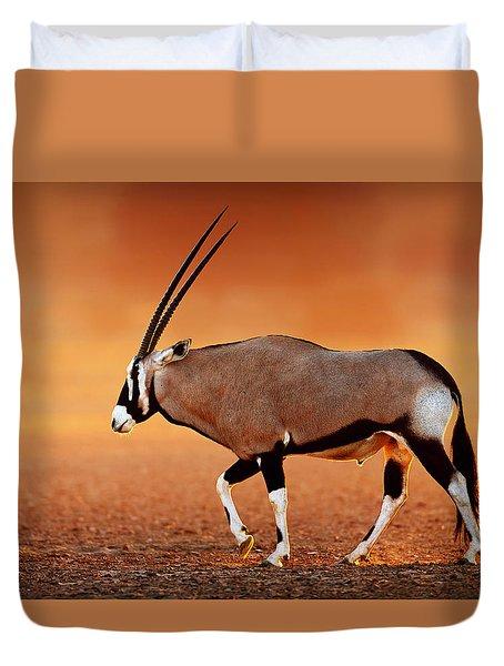 Gemsbok On Desert Plains At Sunset Duvet Cover by Johan Swanepoel