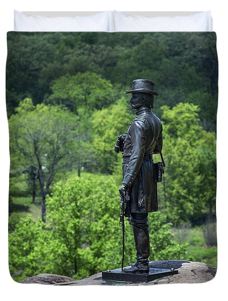 General Kemble Warren at Little Round Top Duvet Cover by John Greim