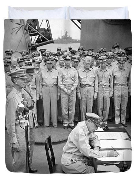General Macarthur Signing The Japanese Surrender Duvet Cover by War Is Hell Store