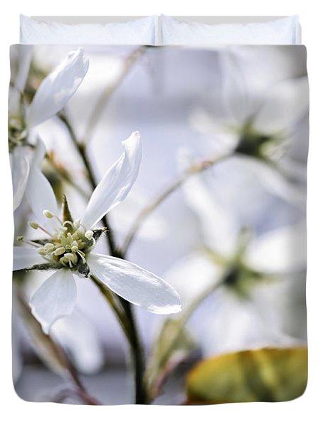 Gentle white spring flowers Duvet Cover by Elena Elisseeva