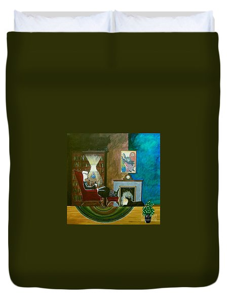 Gentleman Sitting In Wingback Chair Enjoying A Brandy Duvet Cover by John Lyes