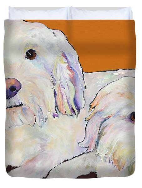 George And Henry Duvet Cover by Pat Saunders-White