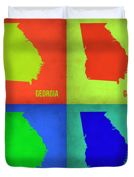 Georgia Pop Art Map 1 Duvet Cover by Naxart Studio