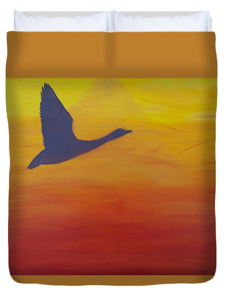 Georgian Bay Sunset Duvet Cover by Alex Banman