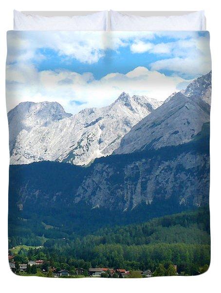 German Alps - Digital Painting Duvet Cover by Carol Groenen