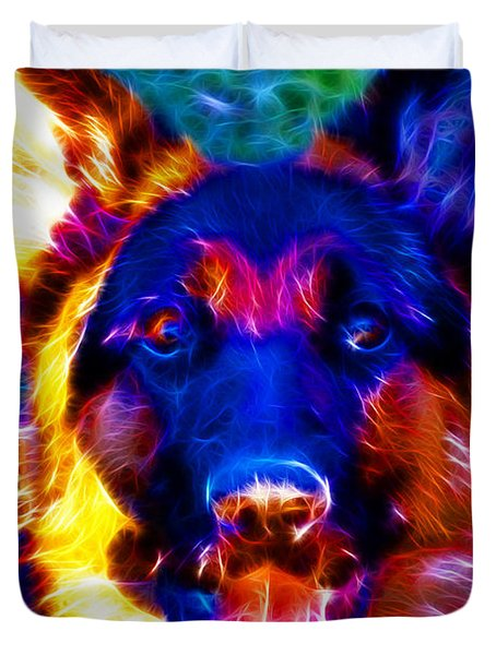 German Shepard - Electric Duvet Cover by Wingsdomain Art and Photography