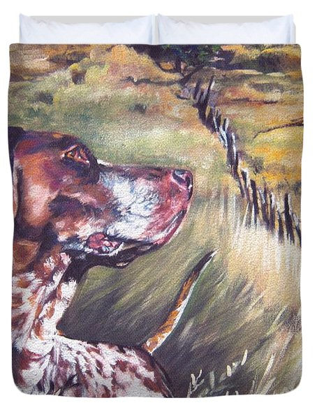 German Shorthaired Pointer And Pheasants Duvet Cover by Lee Ann Shepard