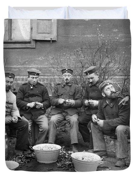 Germans Peeling Potatoes Duvet Cover by Underwood Archives