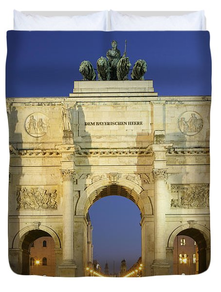 Germany Bavaria Munich Siegestor Duvet Cover by Tips Images