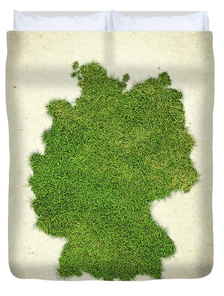Germany Grass Map Duvet Cover by Aged Pixel