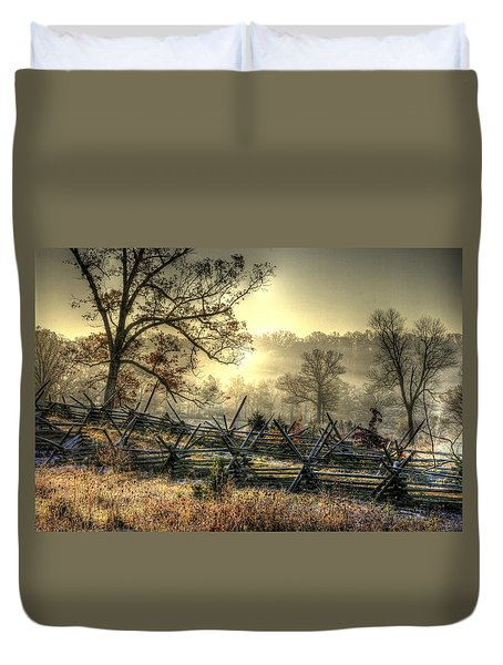 Gettysburg At Rest - Sunrise Over Northern Portion Of Little Round Top Duvet Cover by Michael Mazaika