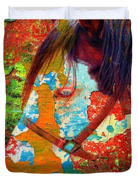 Ghost Horse Duvet Cover by Skip Hunt