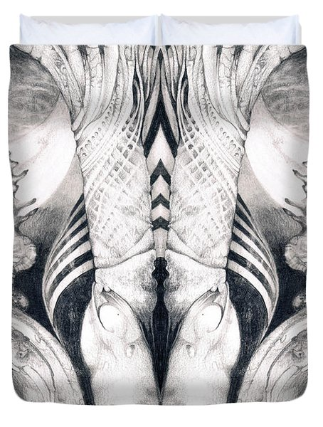 Ghost In The Machine - Detail Mirrored Duvet Cover by Otto Rapp