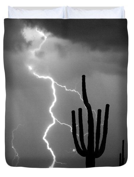 Giant Saguaro Cactus Lightning Strike Bw Duvet Cover by James BO  Insogna