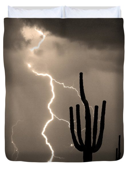 Giant Saguaro Cactus Lightning Strike Sepia  Duvet Cover by James BO  Insogna