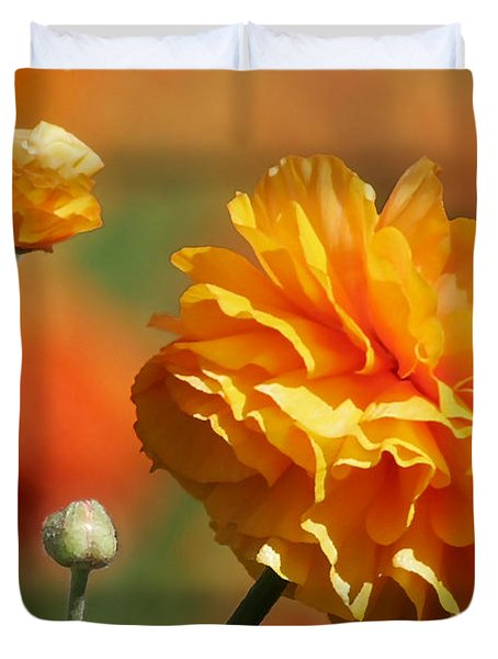 Giant Tecolote Ranunculus - Carlsbad Flower Fields CA Duvet Cover by Christine Till
