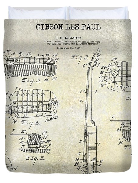 Gibson Les Paul Patent Drawing Duvet Cover by Jon Neidert