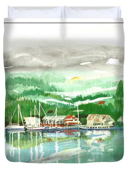 Gig Harbor Waterfront Duvet Cover by Jack Pumphrey