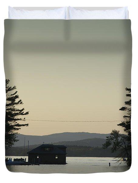 Gilford Harbor Boathouse Duvet Cover by David Gordon