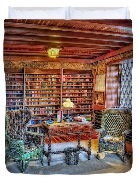 Gillette Castle Library Duvet Cover by Susan Candelario