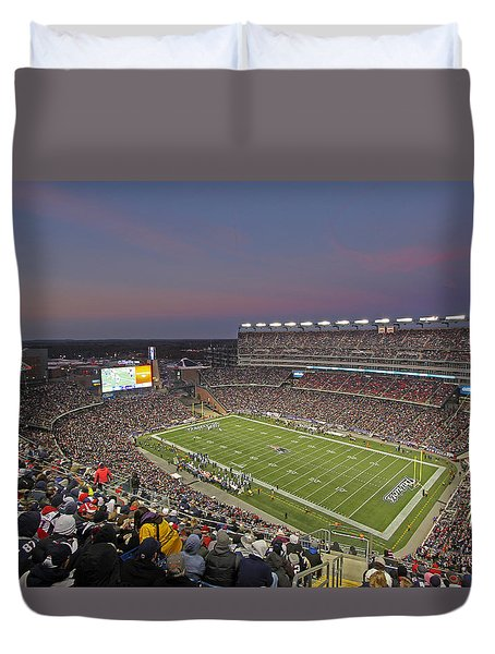 Gillette Stadium And New England Patriots Duvet Cover by Juergen Roth