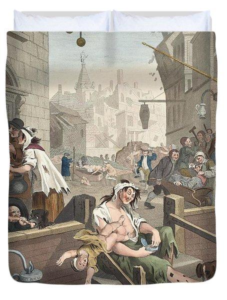 Gin Lane, Illustration From Hogarth Duvet Cover by William Hogarth
