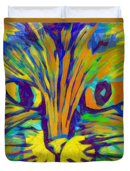 Ginger Kitty Duvet Cover by Michelle Calkins