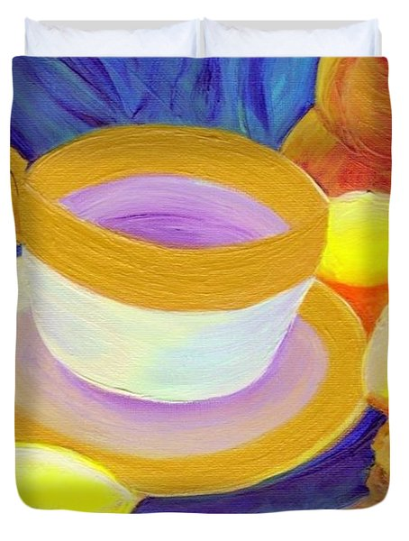 Ginger Lemon Tea By Jrr Duvet Cover by First Star Art