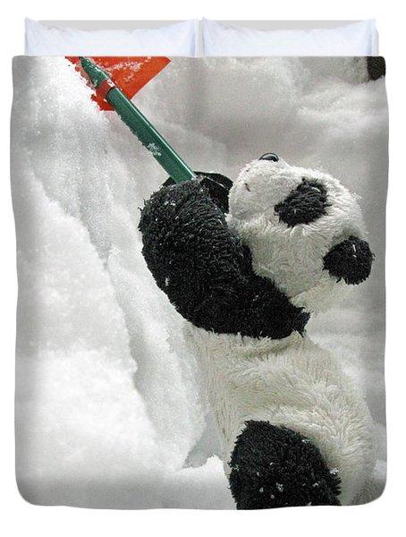 Ginny The Baby Panda In Winter #01 Duvet Cover by Ausra Huntington nee Paulauskaite