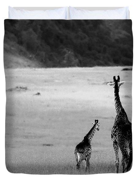 Giraffe In Black And White Duvet Cover by Sebastian Musial