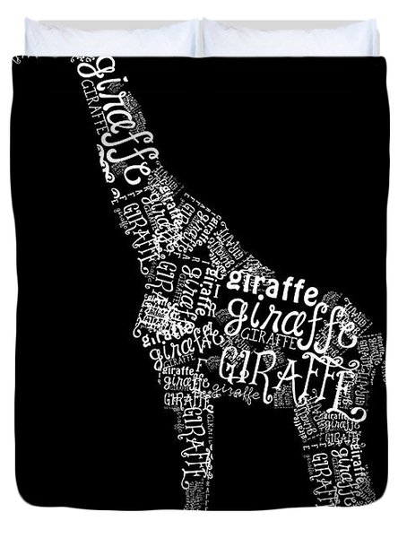 Giraffe is the Word Duvet Cover by Heather Applegate