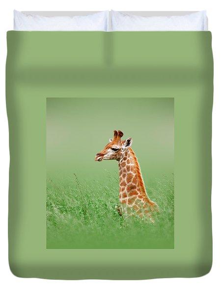 Giraffe Lying In Grass Duvet Cover by Johan Swanepoel