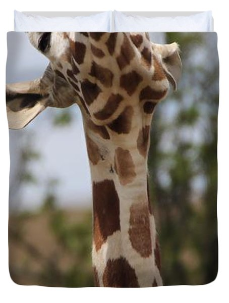Giraffe Neck And Teeth Duvet Cover by Dan Sproul