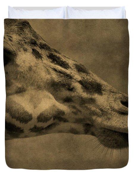 Giraffe Portait Duvet Cover by Dan Sproul