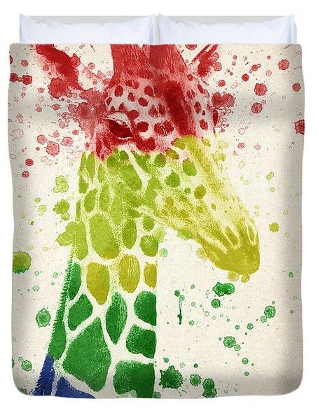 Giraffe Splash Duvet Cover by Aged Pixel