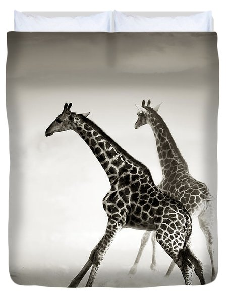 Giraffes Fleeing Duvet Cover by Johan Swanepoel