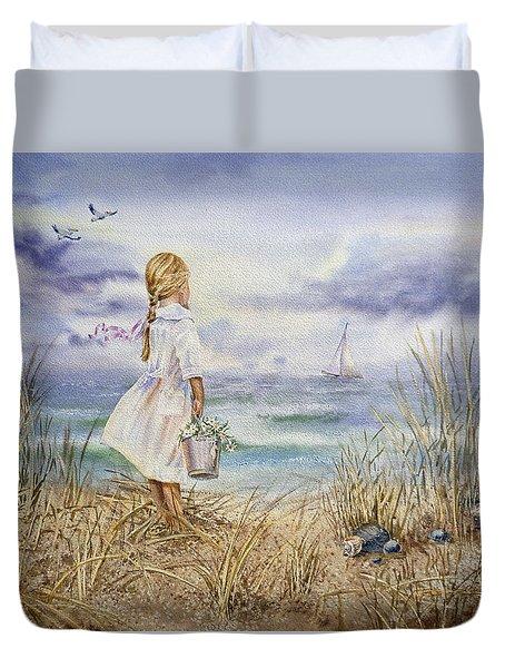 Girl At The Ocean Duvet Cover by Irina Sztukowski