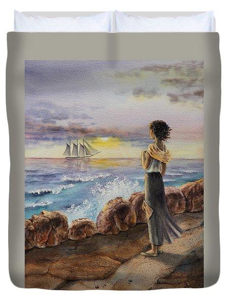 Girl And The Ocean Sailing Ship Duvet Cover by Irina Sztukowski