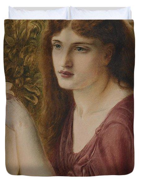 Girl At A Fountain Duvet Cover by Simeon Solomon