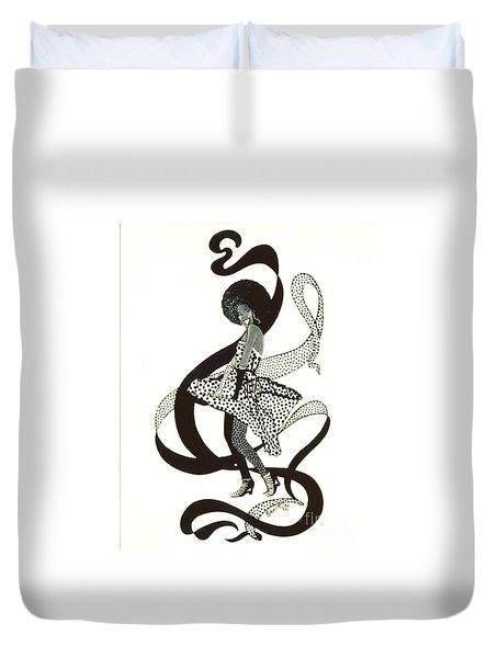 Girl in Polkadot Dress Duvet Cover by Sigrid Tune