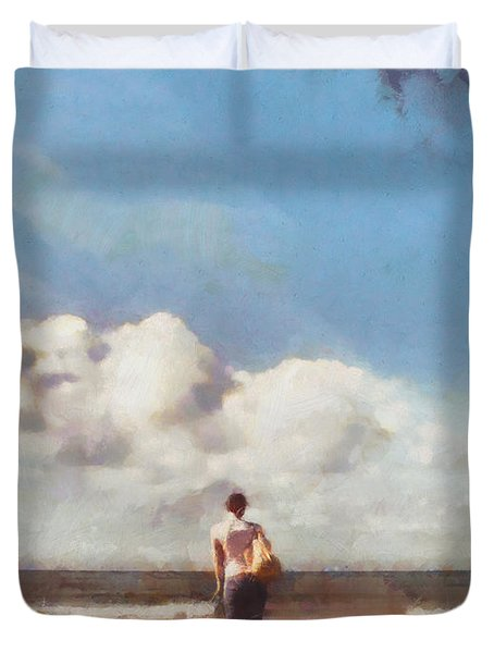 Girl on beach Duvet Cover by Pixel Chimp