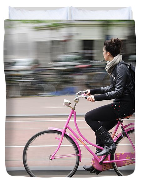Girl On Pink Bicycle Duvet Cover by Oscar Gutierrez