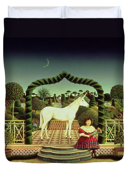 Girl With A Unicorn Duvet Cover by Anthony Southcombe