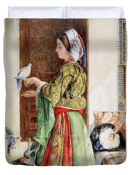 Girl With Two Caged Doves, Cairo, 1864 Duvet Cover by John Frederick Lewis