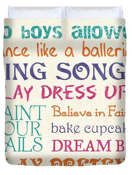 Girls Rules Duvet Cover by Debbie DeWitt