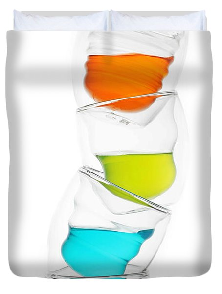 Glass Cups And Colorful Drinking II Liquid Art Duvet Cover by Paul Ge