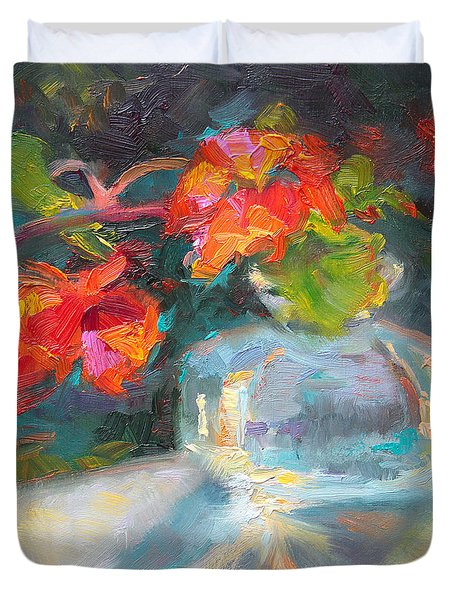 Gleaning Light Nasturtium Still Life Duvet Cover by Talya Johnson